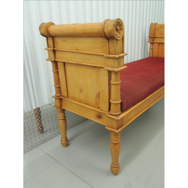 Antique Pine Carved Wood Bench With Velvet Cushion - Image 5 of 5