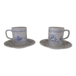 Vintage Alice's Adventures in Wonderland Cup/Saucer - 4 Pieces