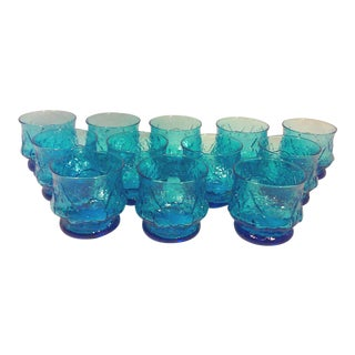 Turquoise Glass Rock Glasses-Set of Twelve