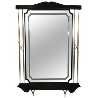 Italian Modern Black & Brass Floor Mirror