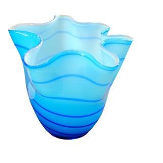 Mid-Century Italian Wavy Glass Vase - Blue & White