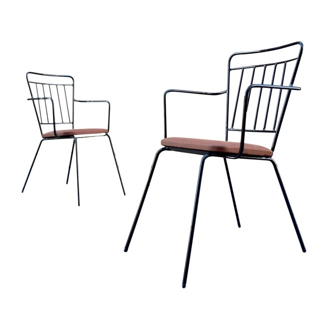 Vintage Iron Modernist Chairs - A Pair - Image 1 of 6