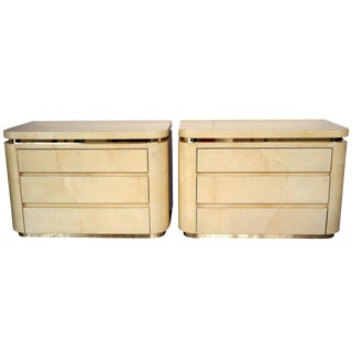 Pair of Enrique Garcel Style Goatskin Three-Drawer Bedside Chests, Jimeco, 1970s