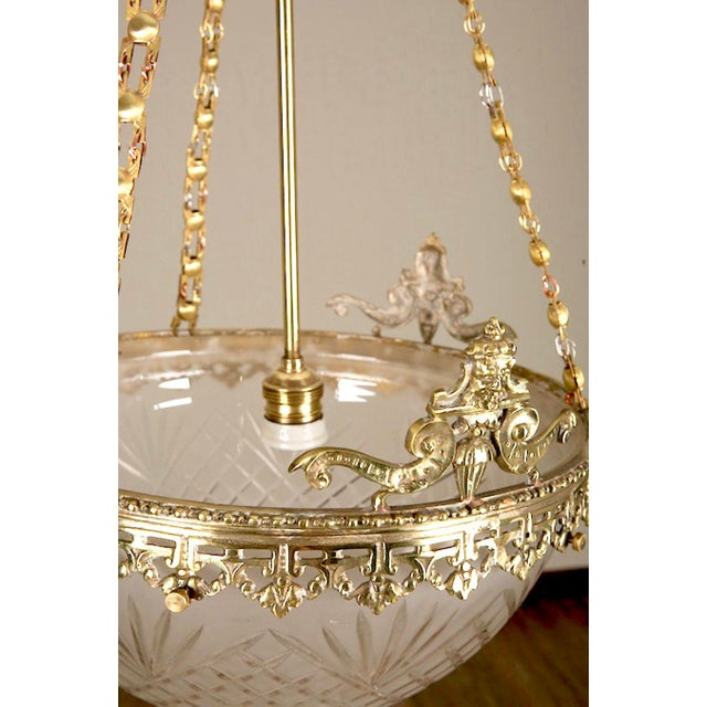 Gilt Bronze and Etched Glass Dome Hanging Fixture - Image 7 of 7