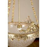Image of Gilt Bronze and Etched Glass Dome Hanging Fixture