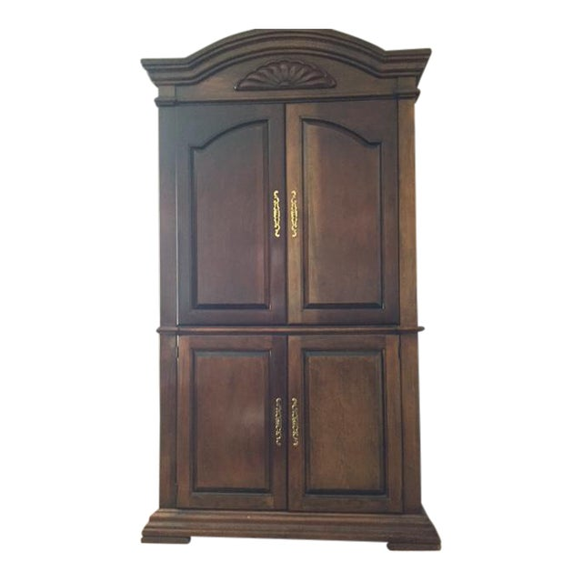 Cherry wood entertainment cabinet armoire chairish