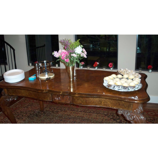 Antique Burled Walnut Dining Table - Image 3 of 6