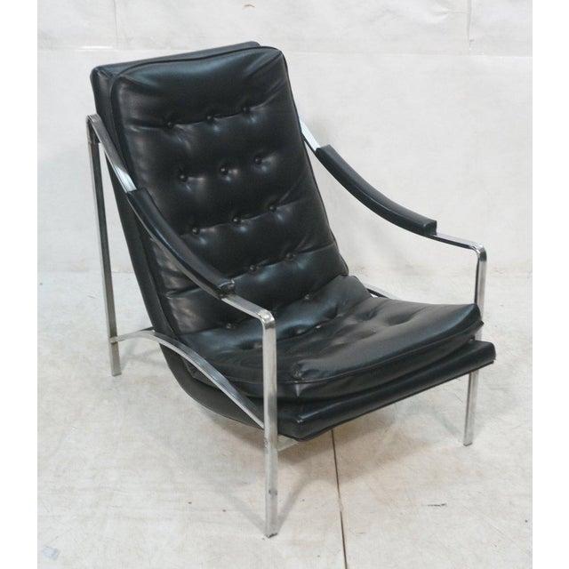 Mid-Century Modern Black Vinyl & Chrome Lounge Chair, Circa 1970 - Image 2 of 7