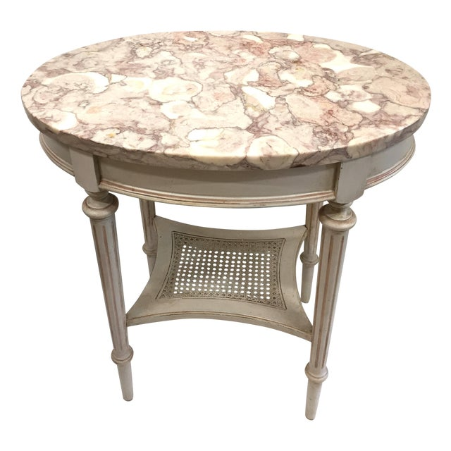 French Marble Top Side Table - Image 1 of 10