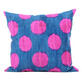 Blue & Pink Silk-Velvet Pillow