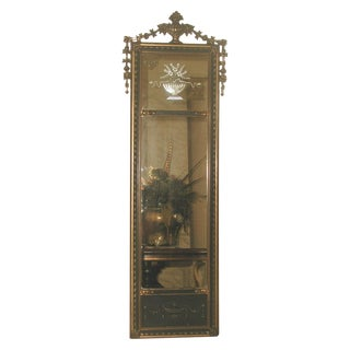 Neoclassical French Gilt Black Etched Mirror