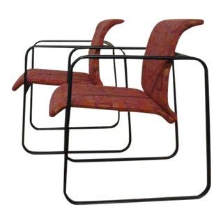 Protzman for Herman Miller Girard Fabric Tubular Chairs - a Pair