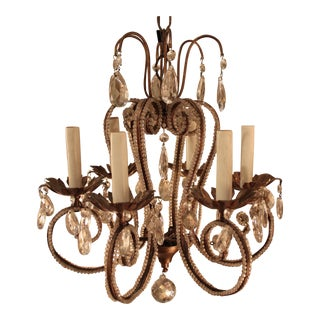Antique Six-Arm Beaded Italian Chandelier