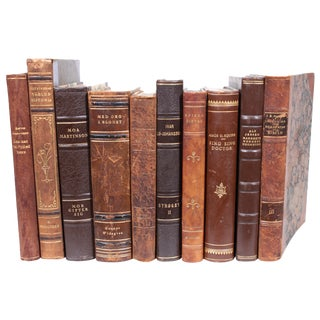 Vintage Leather Scandinavian Books - Set of 10