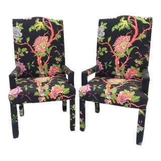 Chinoiserie Floral Arm Chairs After Milo Baughman- a Pair