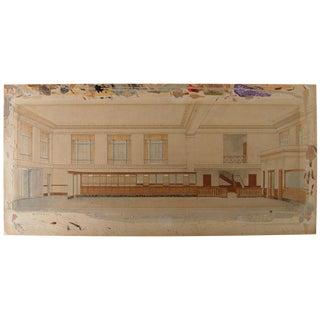 1920s Architectural Interior Watercolor