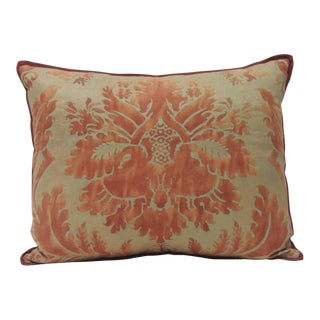 "Burnt Orange on Silvery Gold Tones Italian Fortuny ""glicine"" Decorative Pillow"