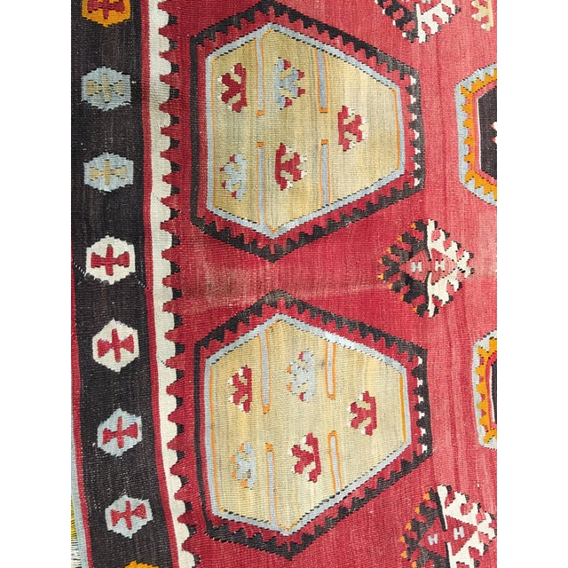 "Vintage Turkish Kilim Rug- 7'7"" x 11'7"" - Image 8 of 8"