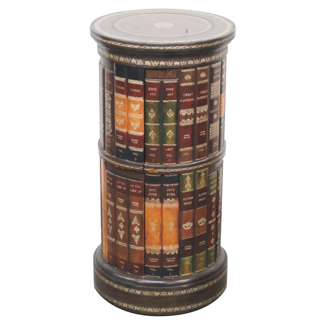 Round Leather Top Faux Bookcase Side Table - Round Leather Top Faux Bookcase Side Table Chairish