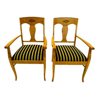 Swedish Jugendstil Birch Armchairs - A Pair