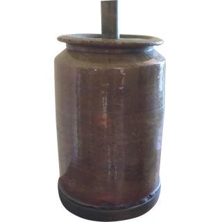 Primitive Green Crock Lamp