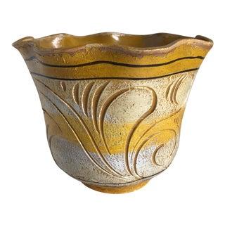 Vintage Carved Scalloped Boho Vessel