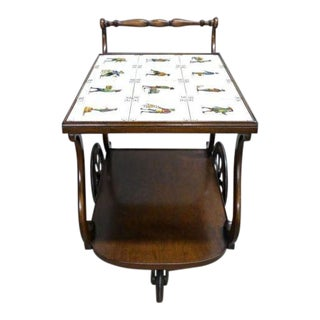 1940s Antique Art Tile Top Tray Side Console Tea Cart Server