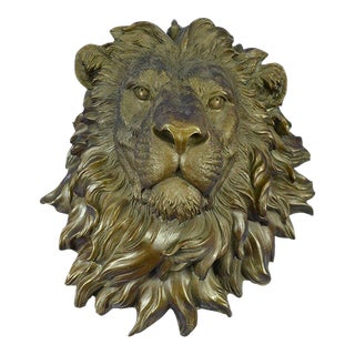 Lion Head Bust Bronze Wall Sculpture