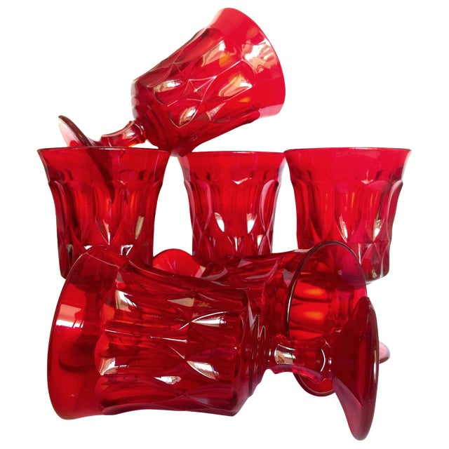 Mid-Century Ruby Red Goblets - Set of 6 - Image 1 of 11