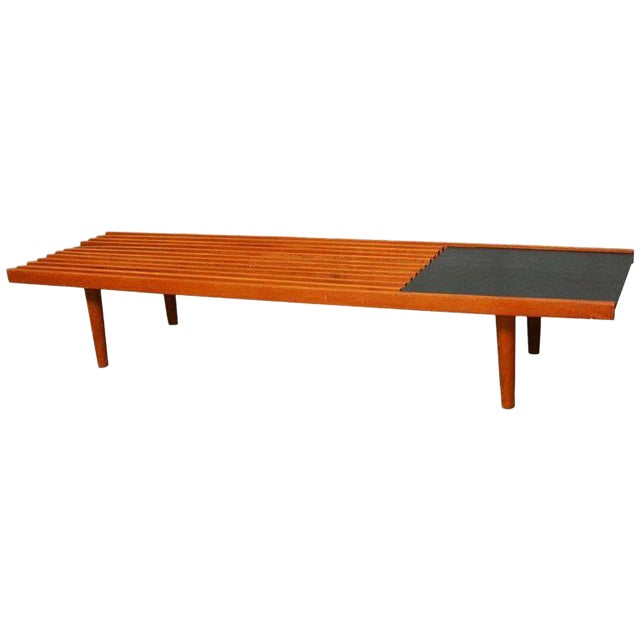 Mid-Century Modern Low Slat Bench Coffee Table