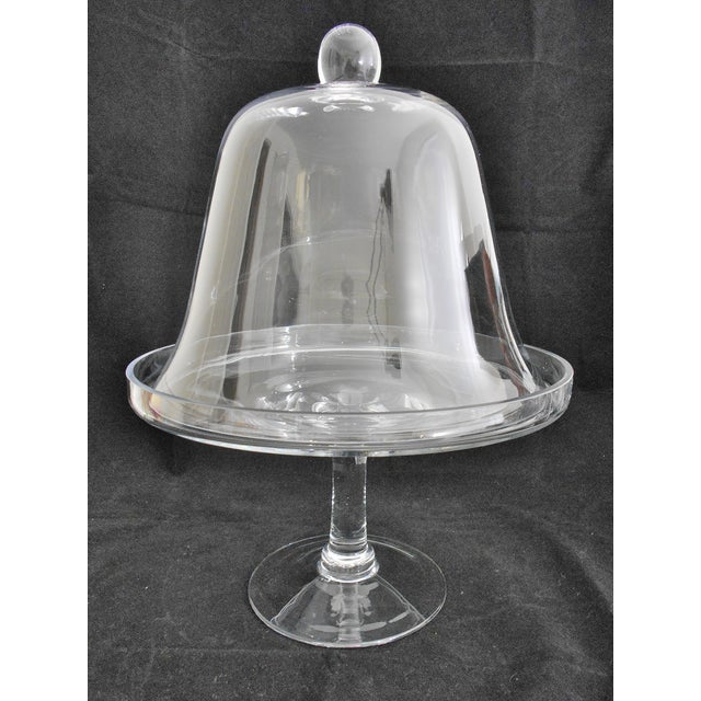 glass cake stand with dome cover chairish. Black Bedroom Furniture Sets. Home Design Ideas