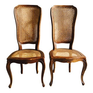 Antique French Cane Dining Chairs - A Pair