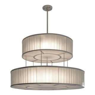 Glass and Silver Leaf Finish Deco Chandelier