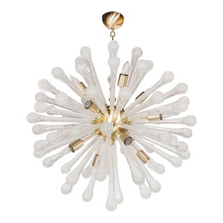 Clear Murano Glass Sputnik Chandelier with Brass Fittings