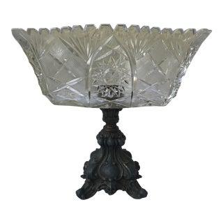 Vintage Footed Glass & Metal Bowl