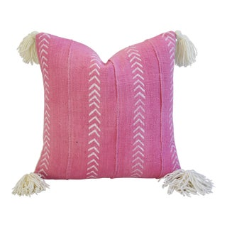 African Mud Cloth Bright Pink & Cream Tasseled Pillow