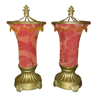 Art Deco Style Red Table Lamps - a Pair