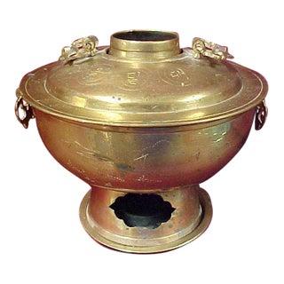 Vintage Korean Hot Pot Cooker / Warmer With Bottom Plate