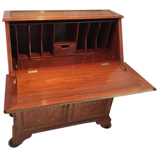 Asian Rosewood Writing Desk W/ Drop-Down Front