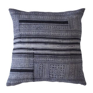 Vintage Blue Handwoven Batik Hemp Pillow