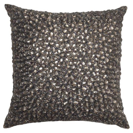 Silver Square Beaded Decorative Pillow Chairish