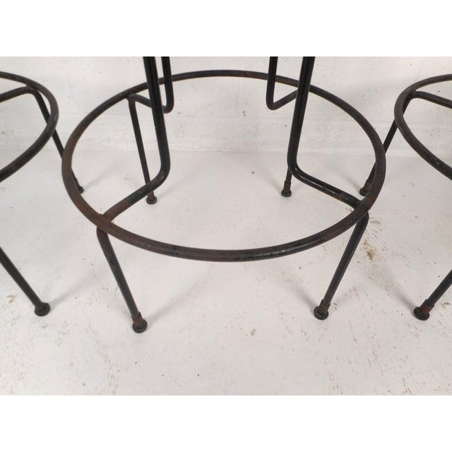 Set of Mid-Century Modern Wrought Iron Bar Stools by Frederick Weinburg - Image 6 of 8