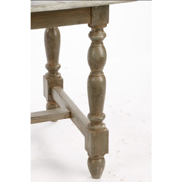 Image of 19th Century Gustavian Table With Marble Top and 18th Century Gustavian Farm Table