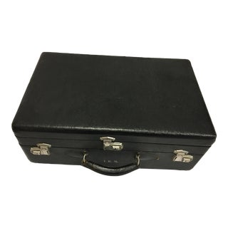 Vintage Textured Black Two Trays Suitcase