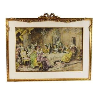 Jovial French Party Scene in Golden Frame