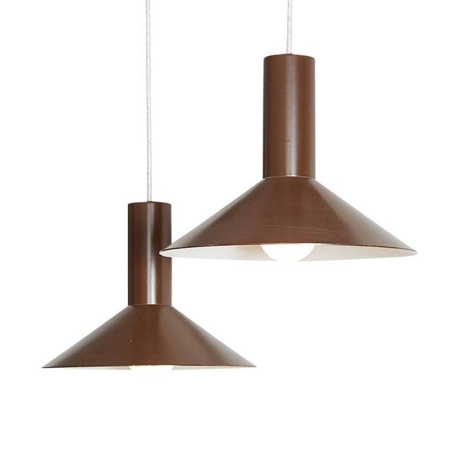 Brown Pendant Cone Lamps, Pair - Image 1 of 5