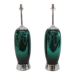 Emerald Green Mercury Glass Lamps - A Pair