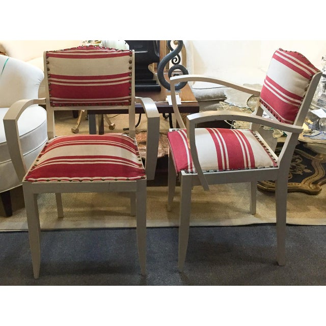 Pair, 1930's French ArmChairs, Red Stripes - Image 3 of 10