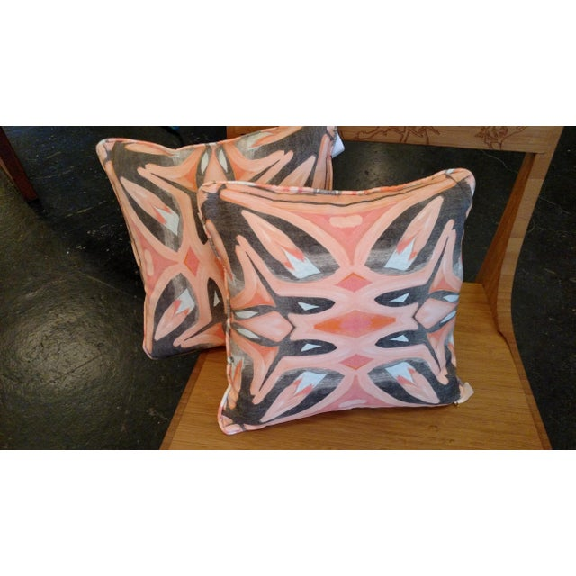 Small Peach Pillows by Amanda Talley - a Pair - Image 2 of 5