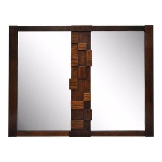 Vintage Mid-Century Modern Lane Brutalist Cubist Paul Evans Style Mirror